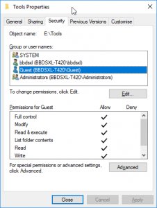 Allow access to shared folder anonymously on Windows 10